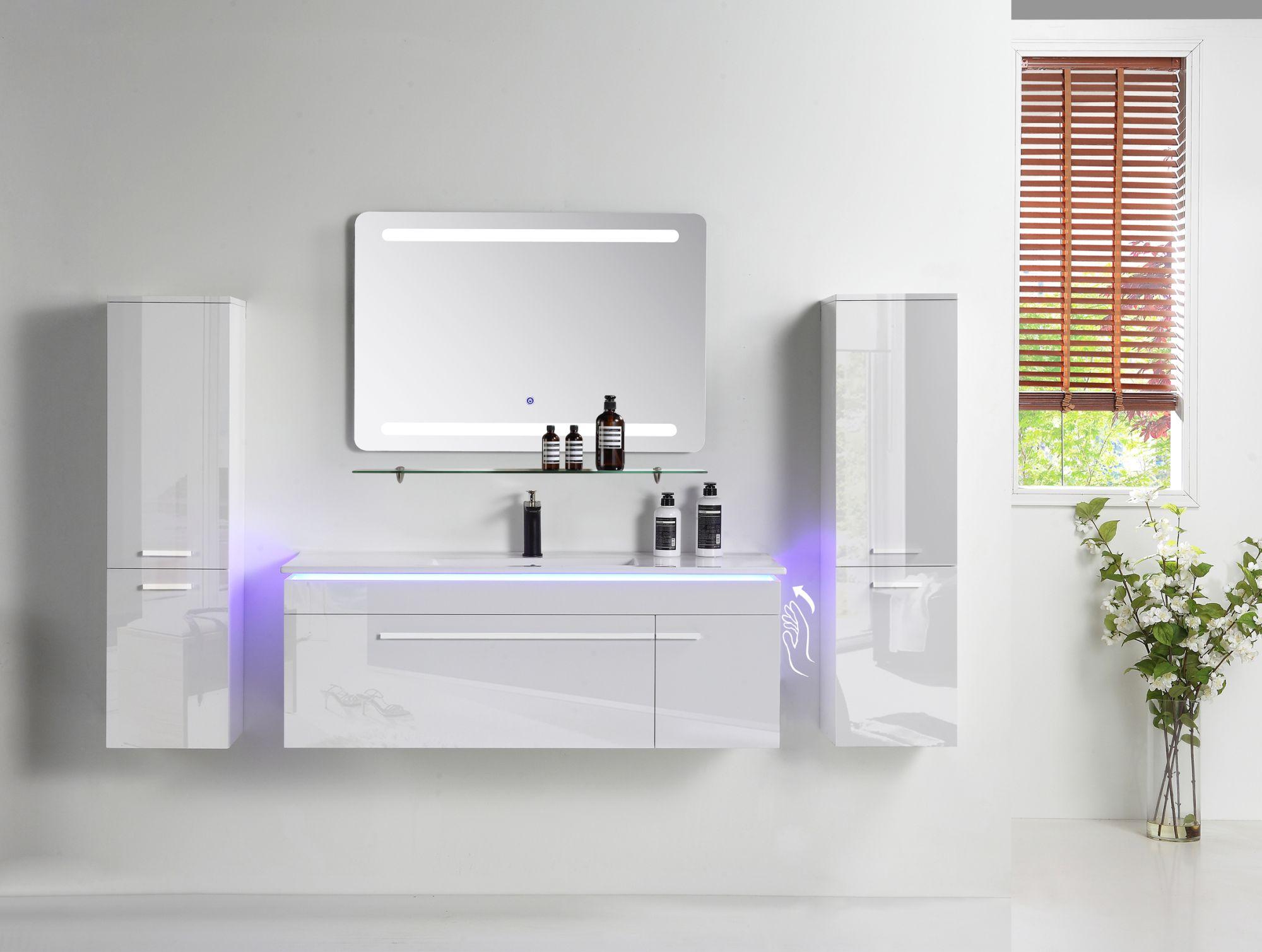 Badmöbel Set 20 cm 20 tlg Weiß Hochglanz Badezimmermöbel Komplett ...